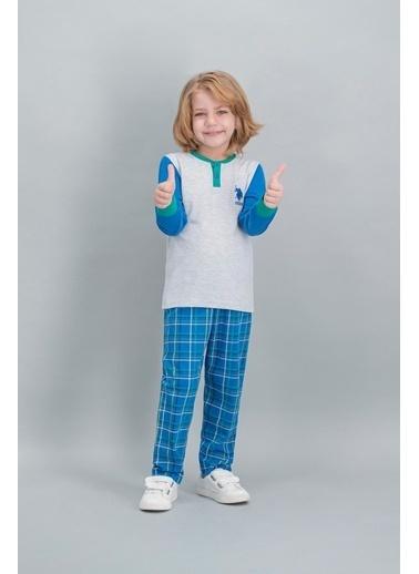 U.S. Polo Assn. U.S. Polo Assn Lisanslı Ekose Mavi Erkek Çocuk Pijama Takımı Gri